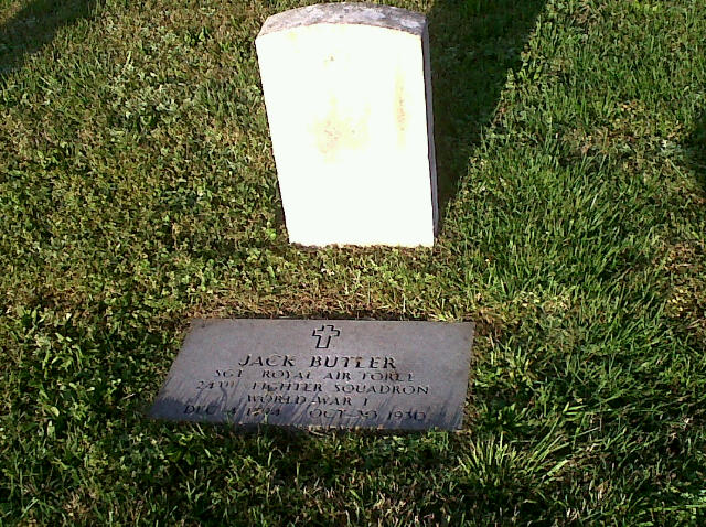 Jack Butler's grave features two stones.