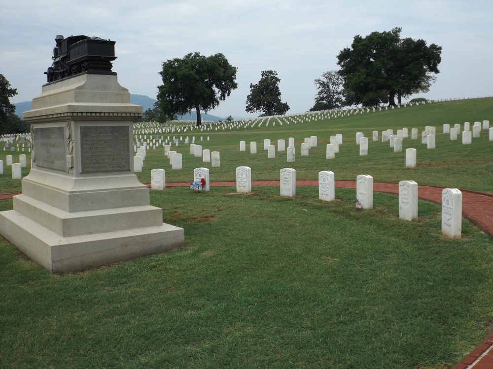 Andrews and his seven fellow executed Raiders lie together in Chattanooga National Cemetery along with a monument featuring the  General . (photo by author)