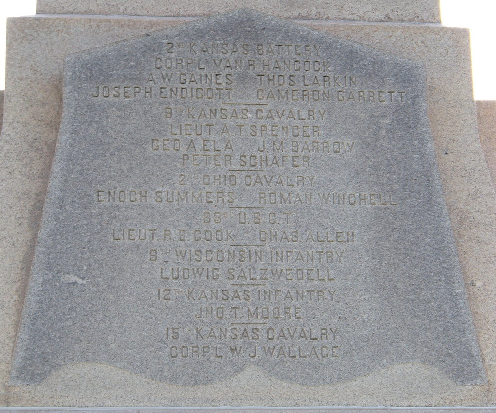 Today, Ludwig Salzwedel's name is inscribed on a Soldiers' Monument at Baxter Springs National Cemetery in Baxter Springs, Kansas