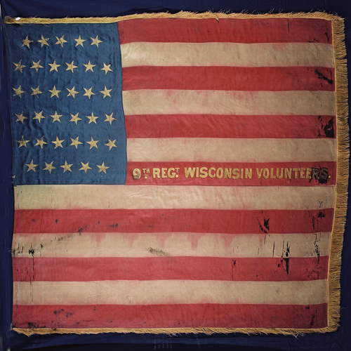 the Flag of the 9th Wisconsin Infantry, an All-German regiment of which Ludwig Salzwedel Was a Private in Company F