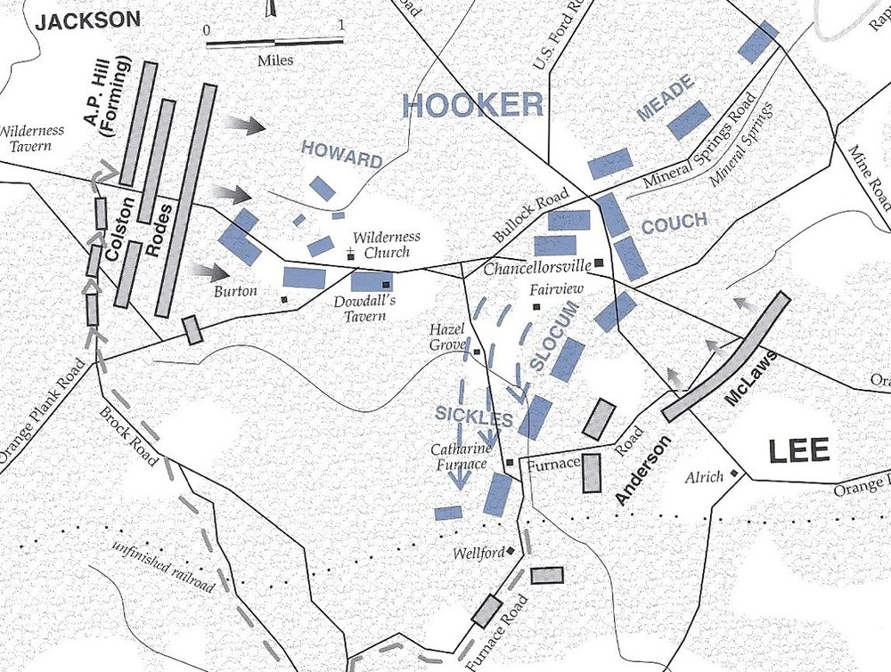 This map shows the route of Jackson's march, the position of the XI Corps in the rear after Sickles moved his III Corps forward, and Jackson's position before the attack on the XI Corps. From the NPS Civil War Series book on Chancellorsville.
