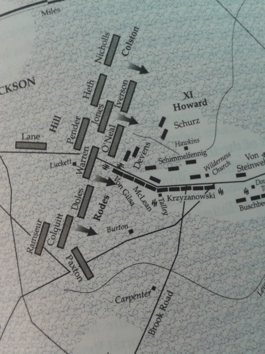 This map shows some of the preparations made by XI Corps officers in the expectation of an attack, despite Hooker's orders. From the NPS Civil War Series book on Chancellorsville.