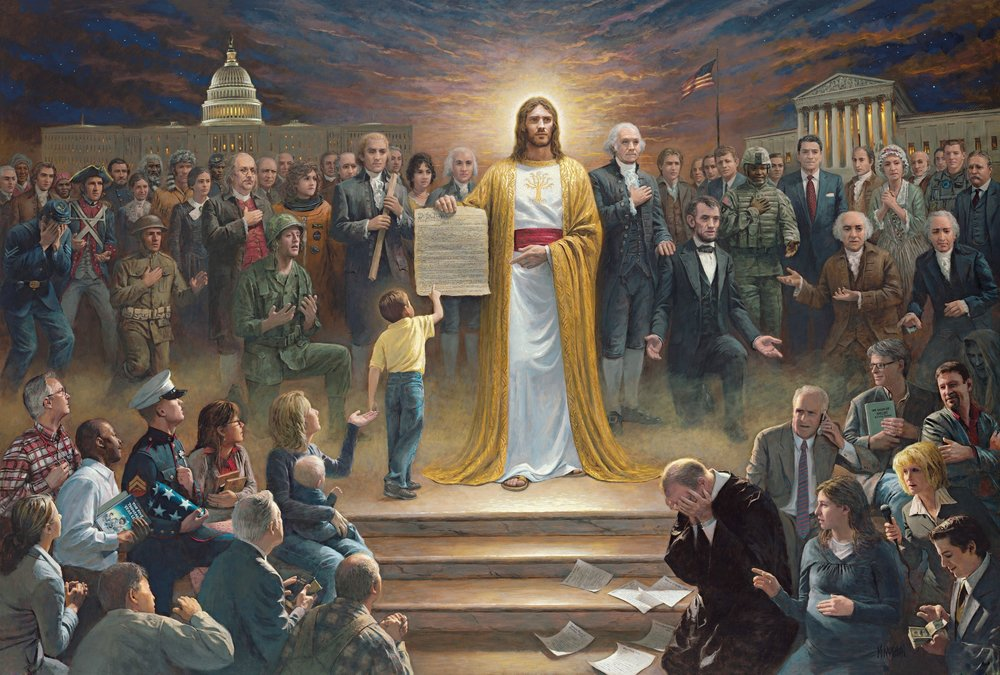 Esta es probablemente la mejor pintura del universo.  http://jonmcnaughton.com/one-nation-under-god/