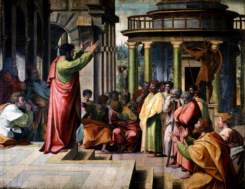 Pablo (Saulo) predicando en Atenas.
