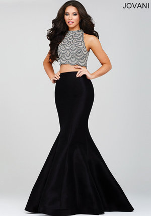 2734e555eed Black Two-Piece Mermaid Evening Dress ...
