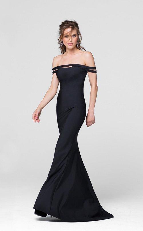 Fitted Off The Shoulder Black Evening Dress Forever After