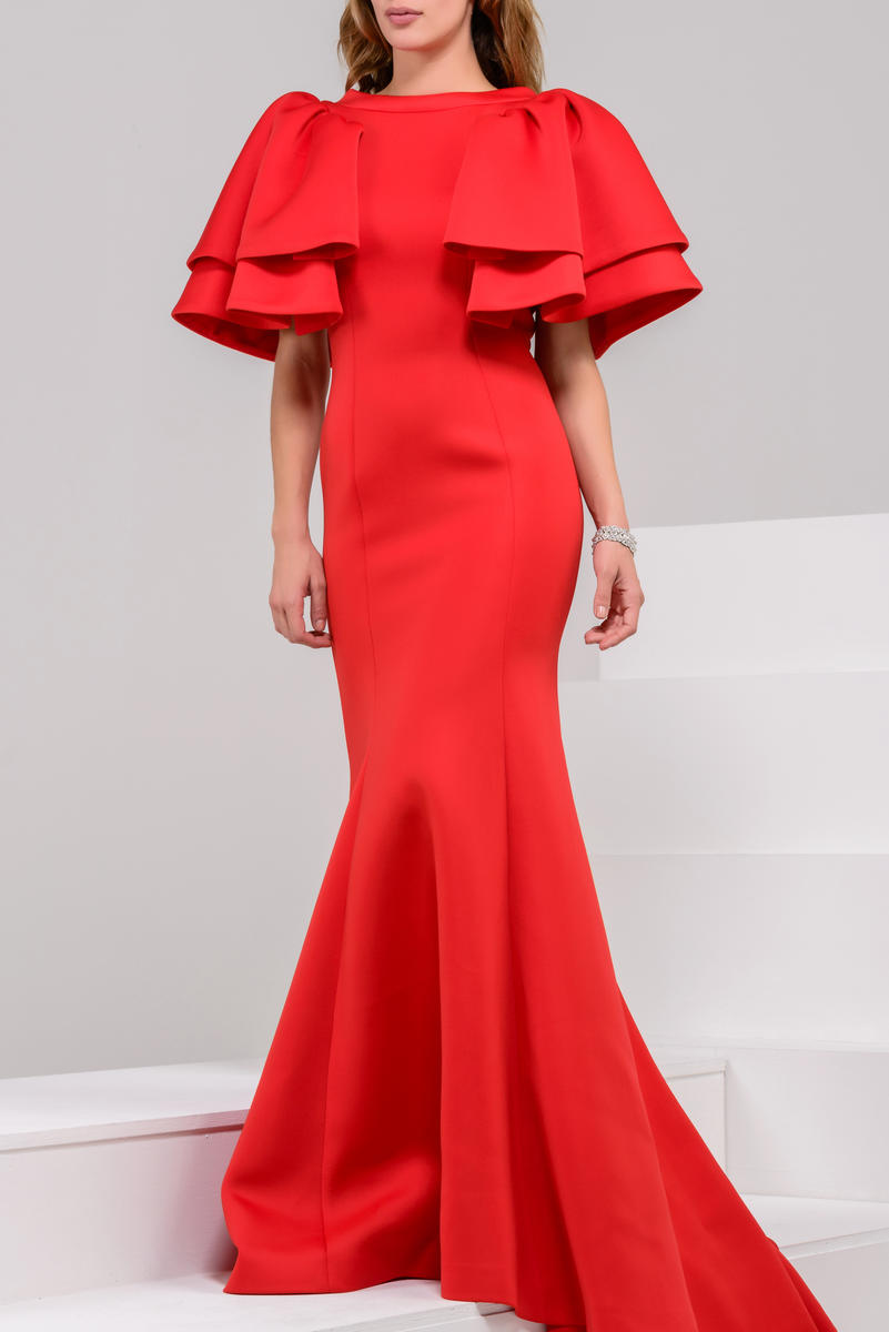Red Scuba Short Sleeve Evening Gown — Forever After
