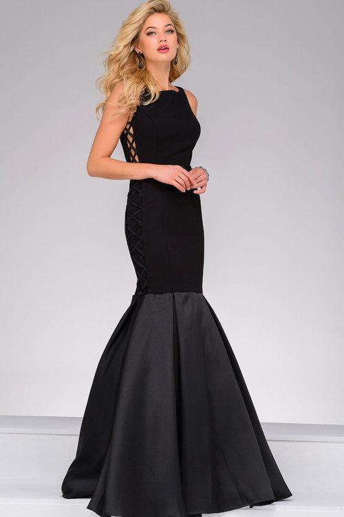 43751878540 Black Sleeveless Mermaid Evening Dress — Forever After