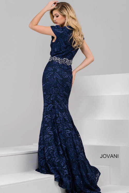Navy V Neck Cap Sleeve Mermaid Evening Dress — Forever After