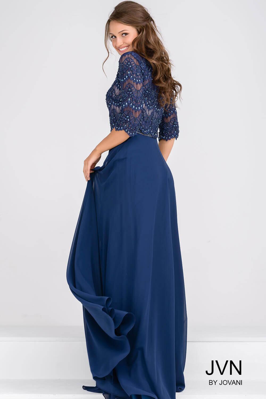e20aafcccd50 Beaded Lace Three Quarter Sleeve Chiffon Dress — Forever After