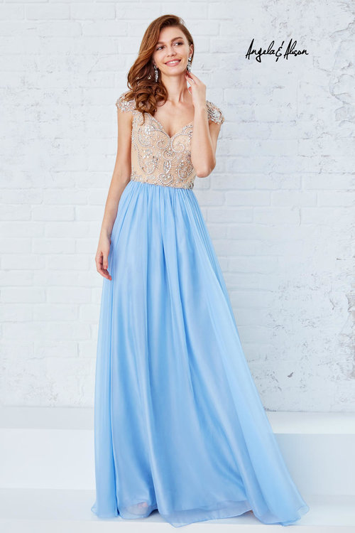 Cap sleeve long evening dress — Forever After