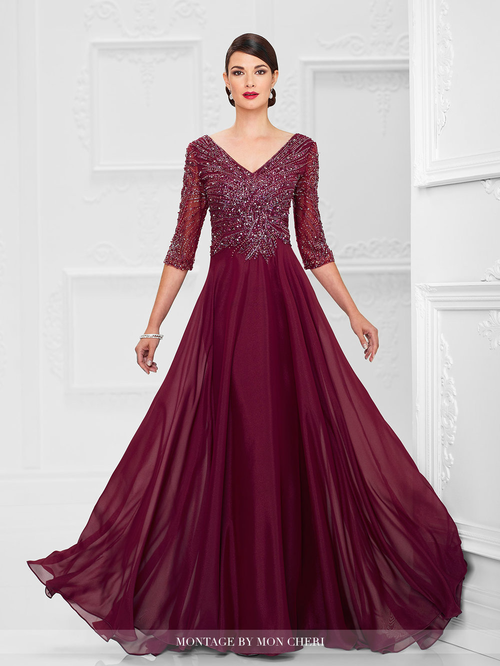 Diamond Chiffon A-line Evening Gown — Forever After