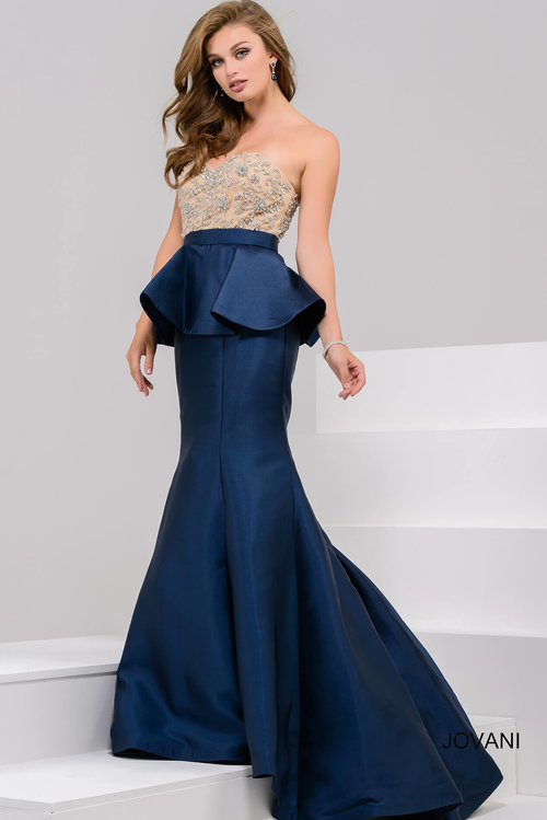 6e9500ebd022 Embellished Strapless Bodice Mermaid Evening Gown — Forever After