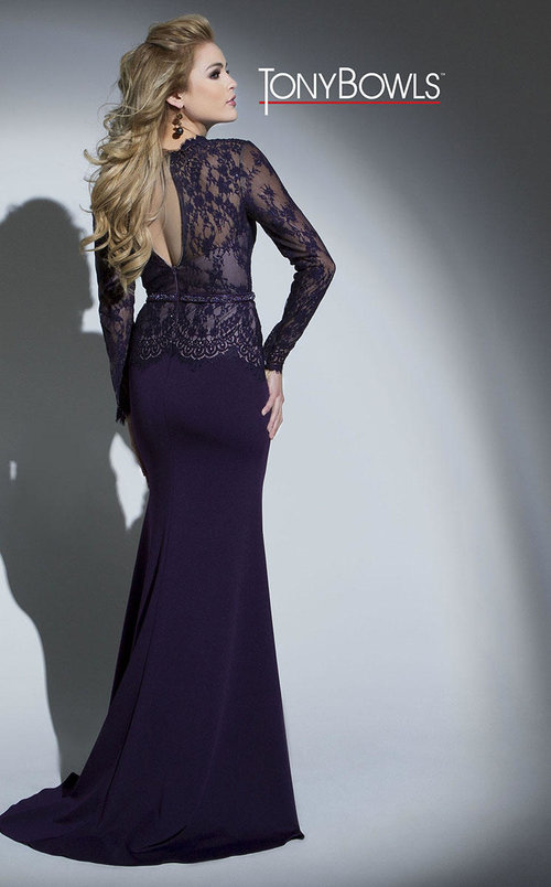 Deep V-Neck Lace Evening Gown — Forever After