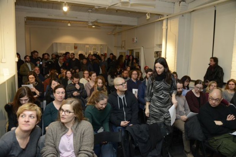 ASAP/Skowhegan panel on affordable studio space at Cabinet Magazine, Brooklyn, March 27th 2014. (Image courtesy of Christian Grattan)