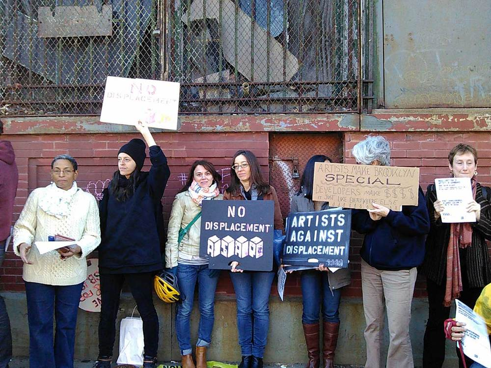 Protesters in Gowanus on the morning of Saturday, October 17, 2015, image from Hyperallergic.