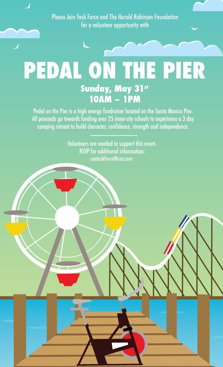 Pedal on the pier invite (custom illustration)