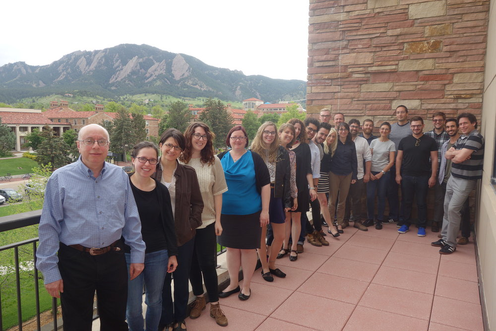 Looking towards the Flatirons: Prof. David Bunis, with Summer Skills Seminar participants (photo: Meghan Zibbey)