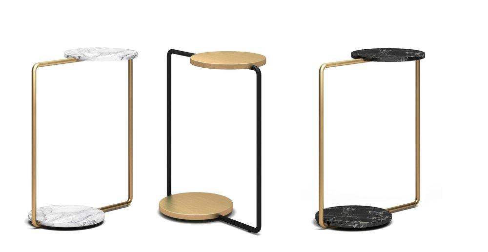 Fan Side Table - 金属, 天然石材W470 * D260 * H555金属版本 1599 CNY石材版本 1999 CNY