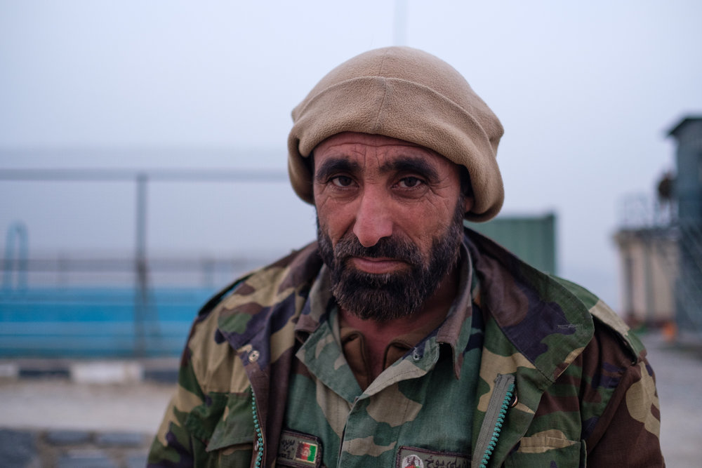 Afghan National Army guard, outside his post atop Bibi Naru hill in central Kabul. 2018.