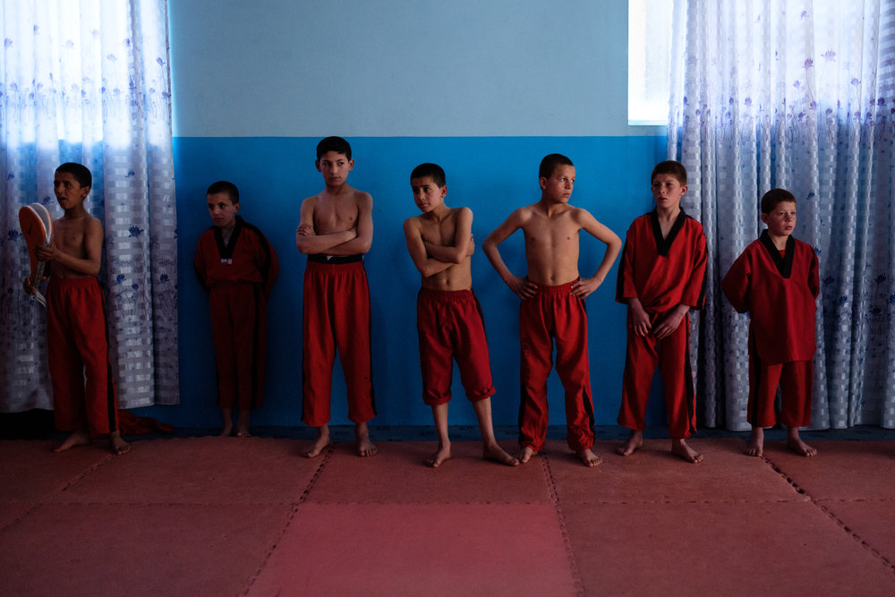 Morning karate practice at an orphanage in the Panjshir Valley. 2017.