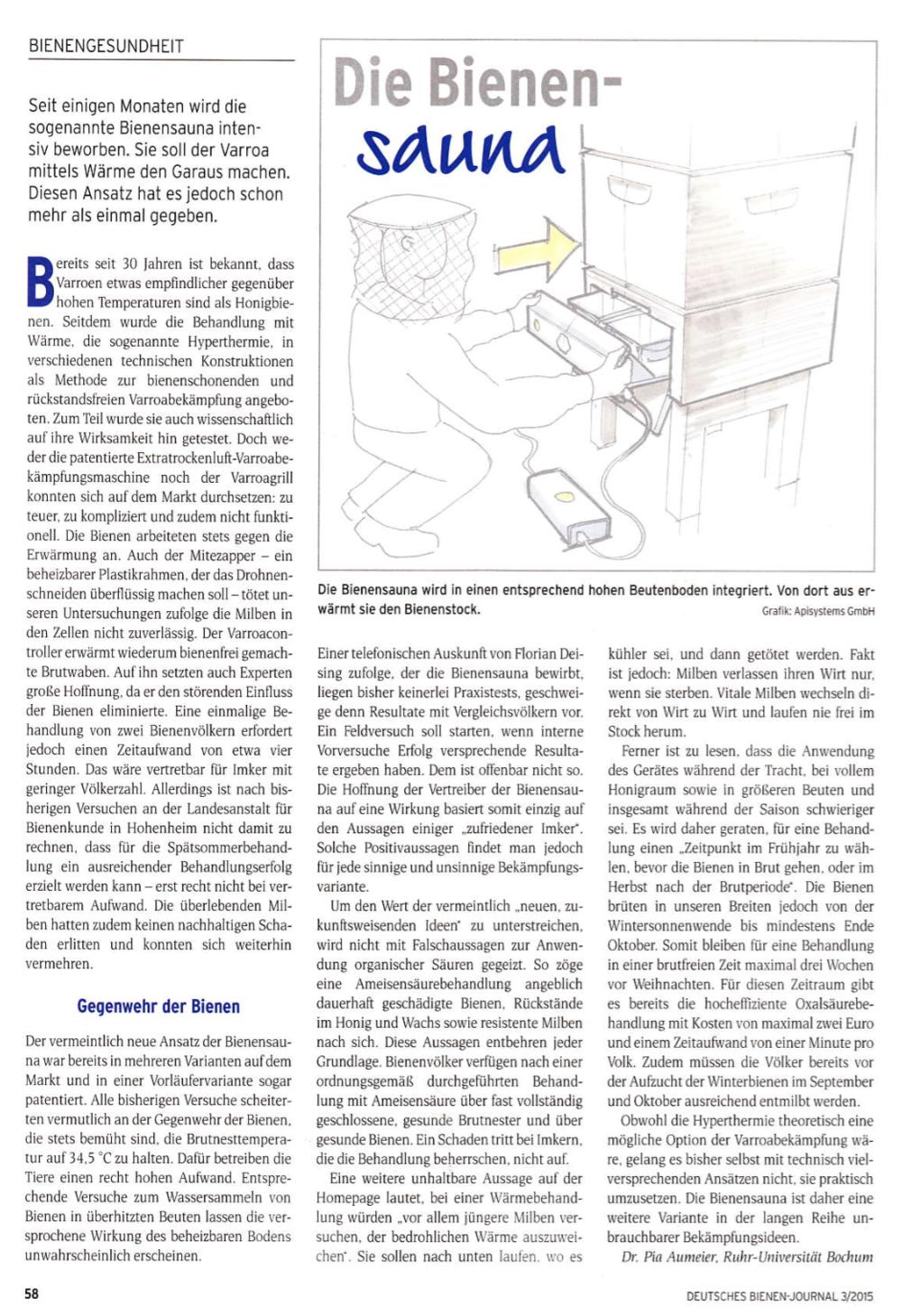 Auszug aus dem Bienenjournal. Bitte klicke einmal, um den Text gut lesen zu können.