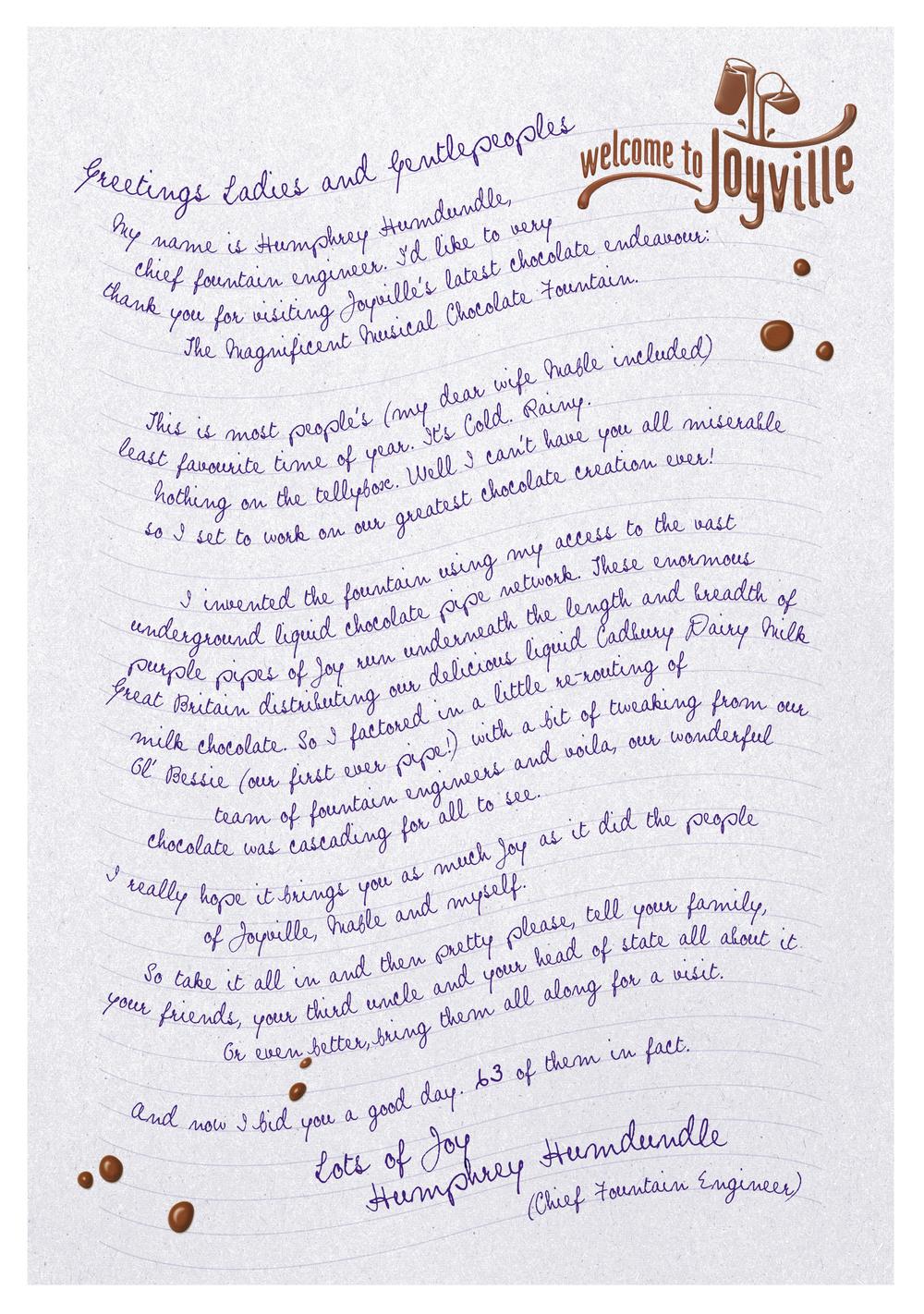 Joyville letter