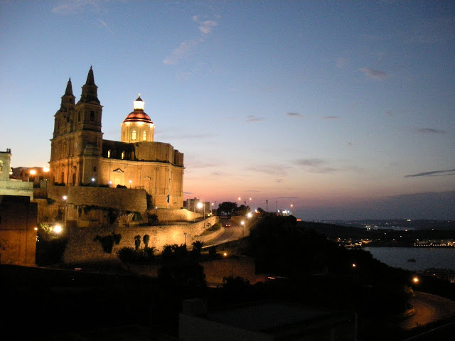 the view of the beautiful church in Mellieha