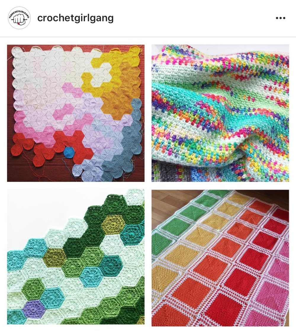 clockwise from top left: @distinctly_analogue, @skeinheroine, @bexcrochetworx, @craftplanter
