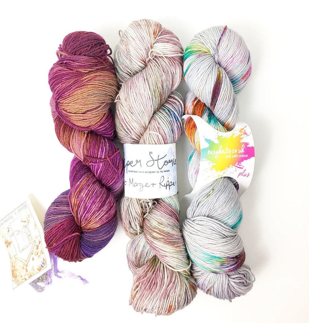 l-r - Rosie's Moments Aubergine, Paper Stories Aunt Marge and Ripper, Easy Knits Dark Nebula