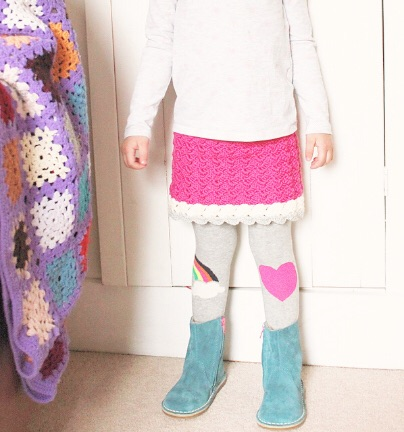 margot - A super cute and stretchy crochet skirt for your prettiest little girl. This comes in three sizes and can be adjusted for any size/length easily. Made using two strands of washable, sports weight yarn. Sport. Three colours. Easy. More details and pictures.