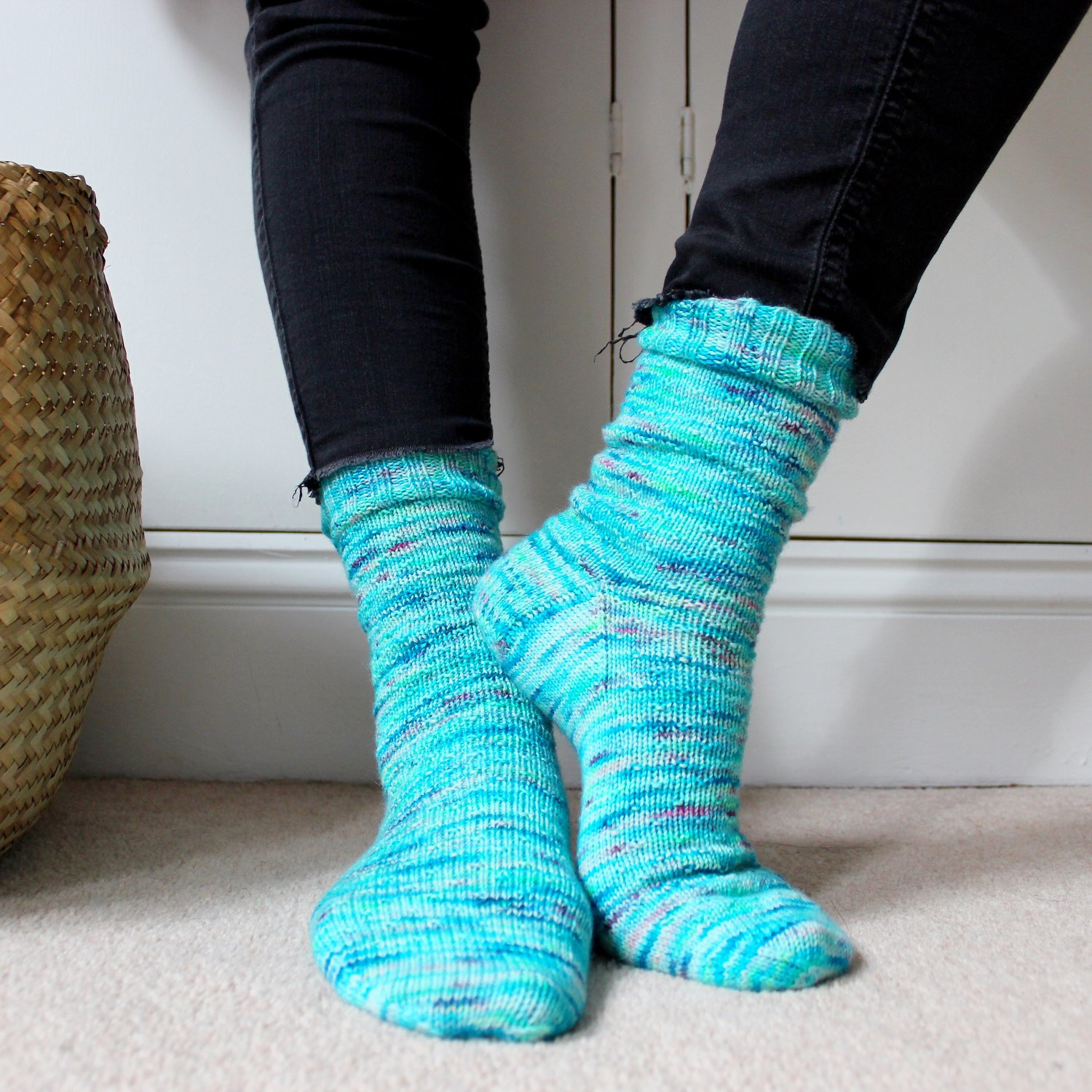 Hand Knitted Regia Wool Socks for Baby 4,5 from heel to toe.