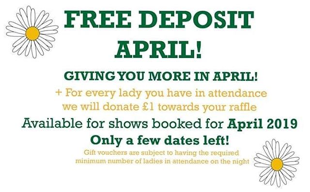 Deposit Free April!  Take advantage of our deposit free April + our popular one for one offer on gift vouchers! 😀  To find out more or to book a show please visit: http://www.coloursfashionshows.com/booking-form or email: info@coloursfashionshows.com