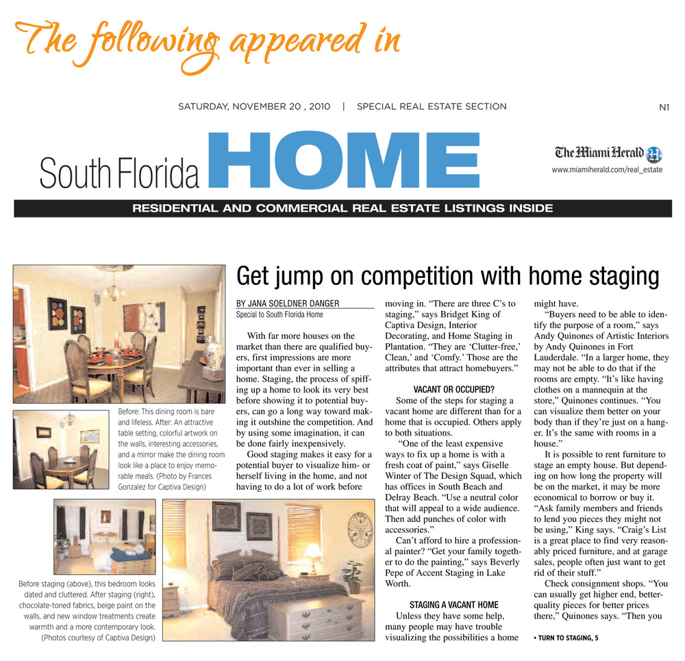 Get jump on competition with home staging