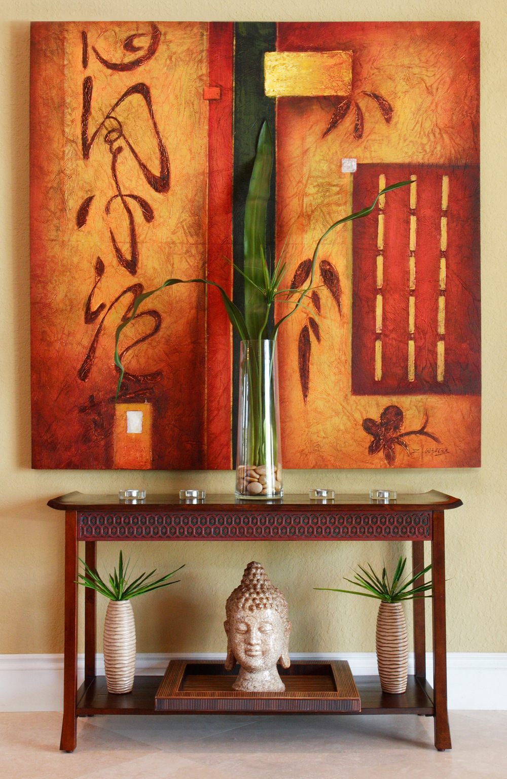 Fine art, side table, statuary, plants and candles - Interior Decorating services by Captiva Design
