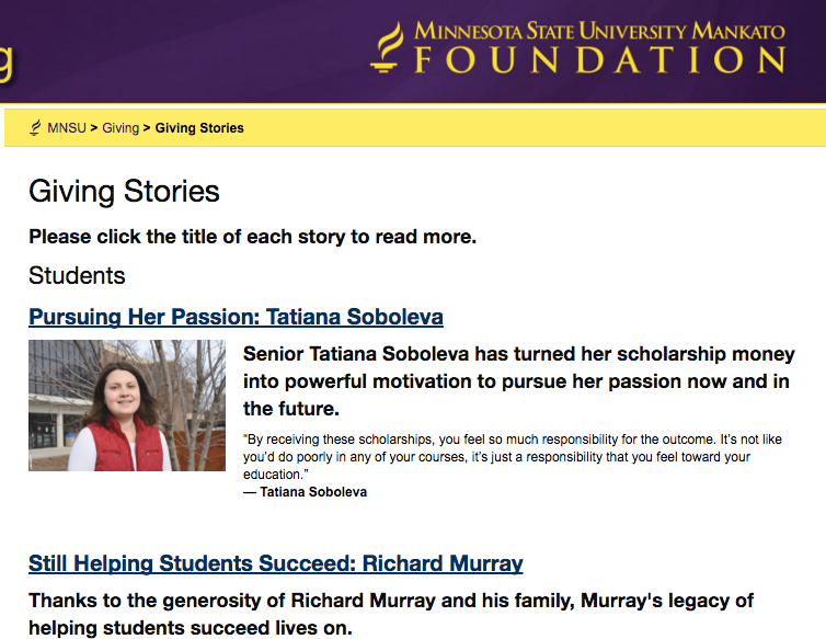 MSUM: Online Giving Stories