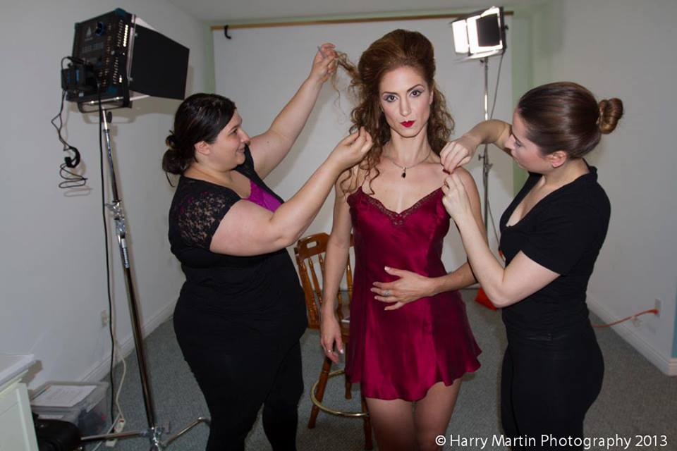 Autumn Bodell (center), Ashley Malone, hair stylist (left) and Sara Martin. makeup artist (right)