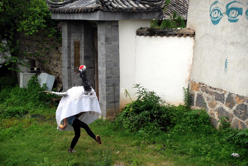 White Crane with Egg,from the Qilin Dance /// photo: Yasuhiro Morinaga