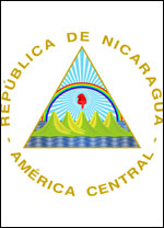 Nicaraguan Coat of Arms: features mountains, a rainbow, and red smurf's hat