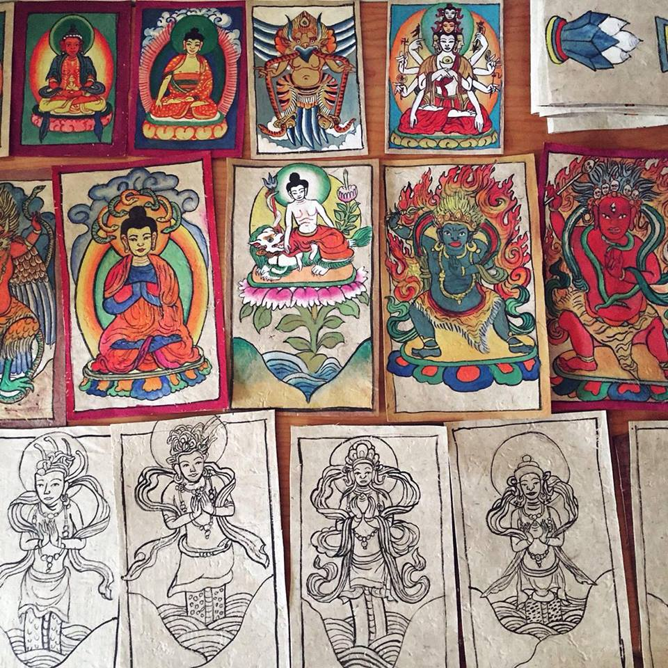 WuZhimi's Dabba ritual cards. A section in progress, pictured here (Set of 27; set of 6). These two sets in particular were used in rituals offering remembrance and respect to wells, ponds, lakes, and other sources of water used by people.