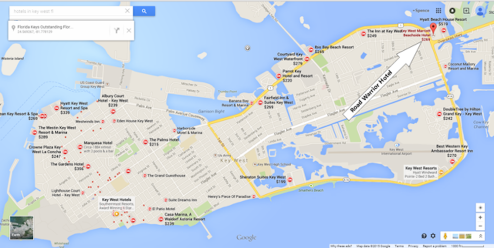 On   June 12, 2015   the Project Road Warrior Group arrive and will be staying at Key West Marriott Beachside Hotel 3841 N Roosevelt Blvd Key West, FL 33040.  (305) 296-8100 . Here are a list of Hotels within 3 miles of the Marriott in Key West if you chose to reserve one and stay over.