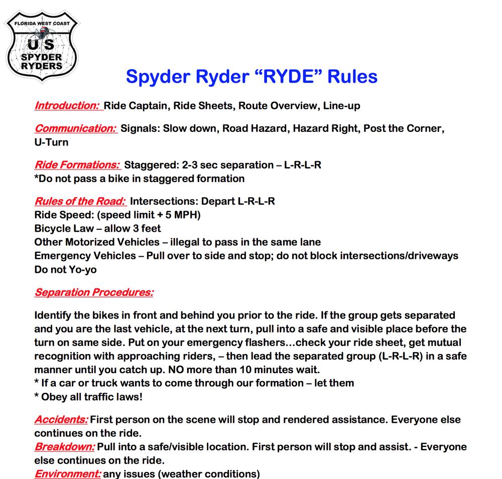 Spyder Ryder Ryder Rules
