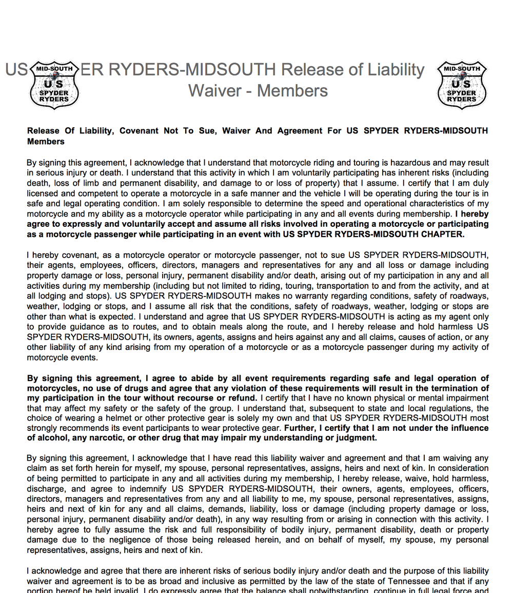 Mid South Chapter Liability Waiver - Member