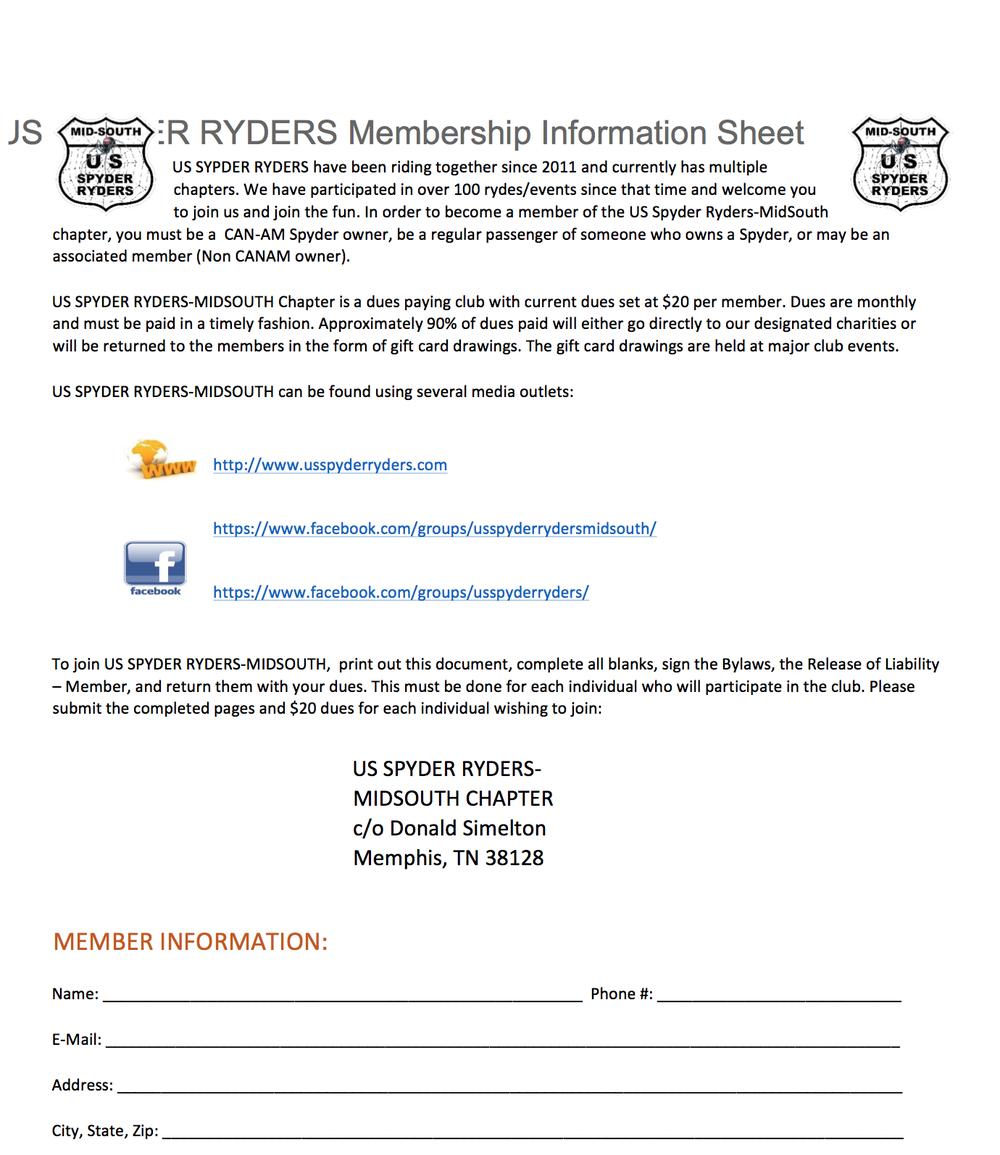 Mid South Membership information