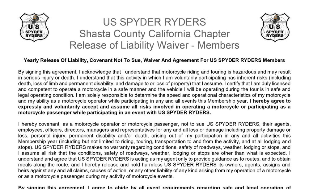 Release Of Liability Ca >> Ca Shasta County Forms Us Spyder Ryders