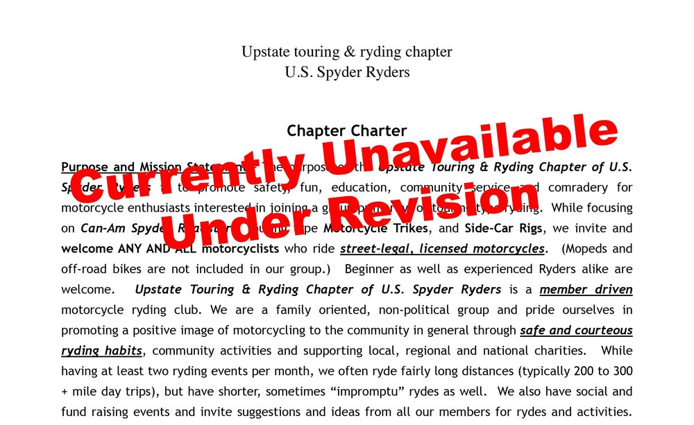 Upstate Touring & Ryding Chapter ByLaws