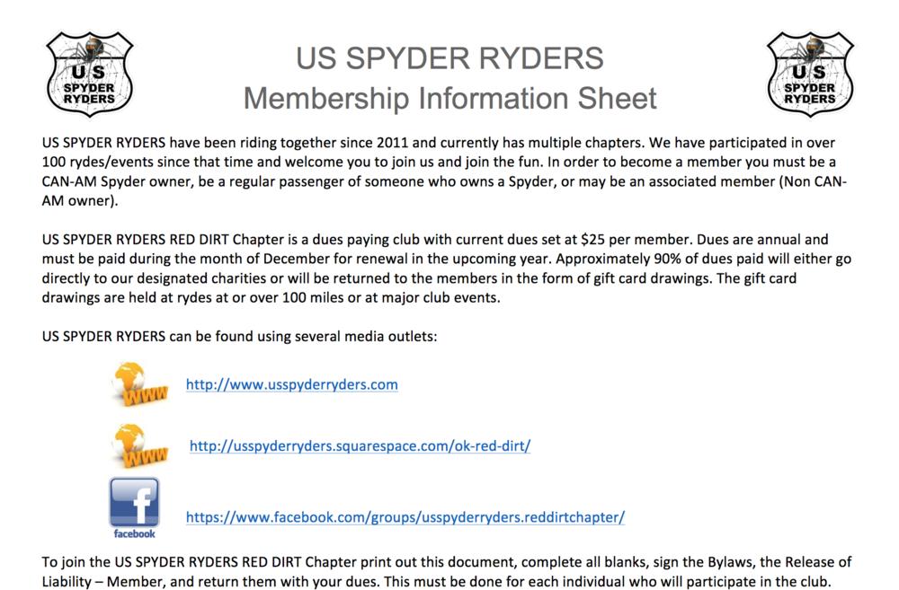 Red Dirt Chapter Member information Sheet
