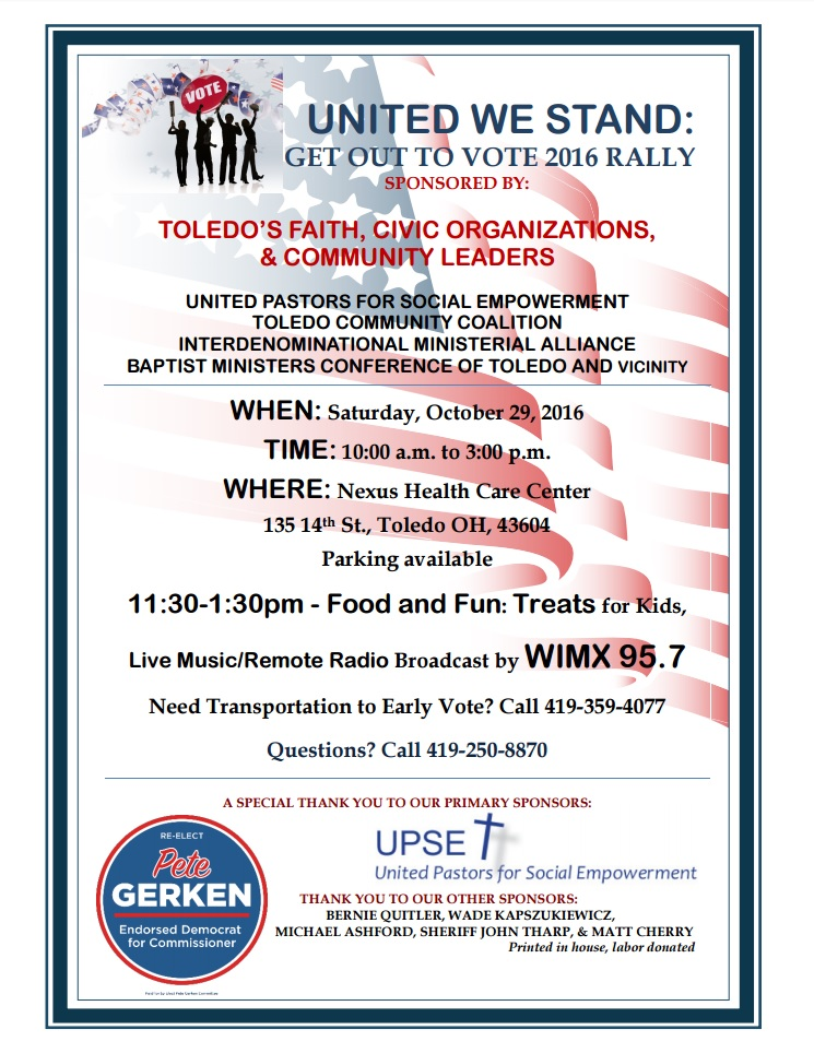 United We Stand: Get Out to Vote Rally — Lucas County Democratic Party