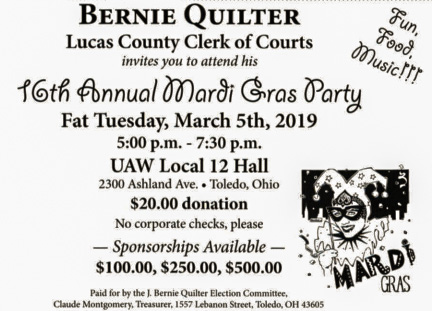 Bernie Quilter's 16th Annual Mardi Gras Party — Lucas County