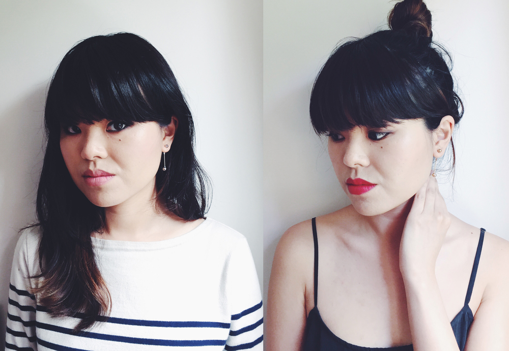 Left: Wearing the Common Muse Perle drop earrings in silver, with Muji striped sweater. Right: Wearing the Common Muse Perle drop earrings in gold with Equipment silk camisole.